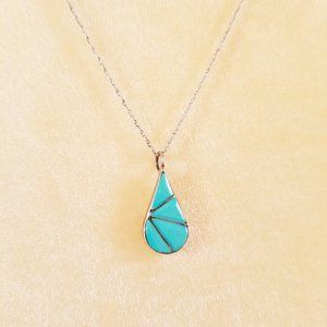 Jewelry - Vintage Turquoise Inlay Teardrop 925 Silver